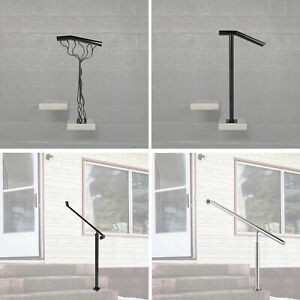 Outdoor Stair Railing, Step Handrail, Steel Rail for Outdoor Porch, One/Two Step