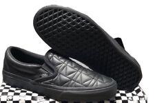 VANS Karl Lagerfeld Slip On Black Leather Quilt Women Shoes