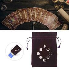 1pc Tarot Cards Bag Drawstring Pouch Moon Phase Runes Velvet Satin Handmade