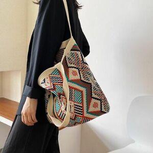 Gypsy Bohemian Boho Chic Aztec Totes Bags Female Daily Handbags Crochet Knitting