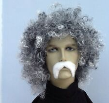 Men's Grey Curly Wig and White Droop Moustache Set. Fancy Dress Wig