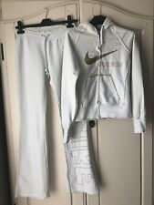 Womens White/Off White Nike Tracksuit Set, Hooded Top & Trousers, Size S