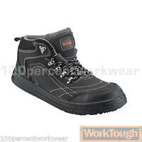 Worktough 78SM Black Nubuck Leather Safety Work Boots Shoes Composite Toe Cap