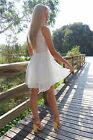 FH Ladies Womens White Midi Skater Flared Mesh Dress Party Cocktail