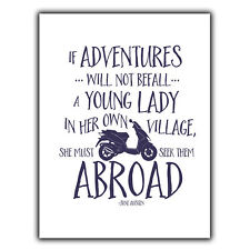 ADVENTURES YOUNG LADY Jane Austen Quote METAL WALL PLAQUE print inspirational