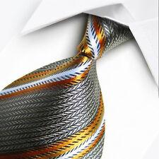 UK1024 gris rayures jaunes new silk classique jacquard tissé hommes cravate cravate