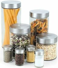 New Cook N Home Glass Canister and Spice Jar Set, 8-Piece, Kitchen Pasta Storage