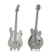 SET of 2 Fascinations Metal Earth Bass AND Lead Electric Guitar 3D DIY Model Kit