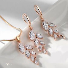 2 PC Lot  White Morganite Topaz Gems Rose Gold Women Earrings + Necklace Pendant