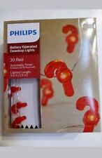 Philips 30 Christmas Battery LED Red Candy Cane Dewdrop Fairy String Lights New