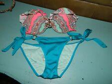 Victoria's Secret Bikini Paisley Jewel Bandeau Swimsuit 2Pc 32D Top XS Bottoms