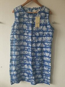 Anany Blue and Cream Floral Patterned Sleeveless Dress - Size 18 UK