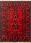 """Vintage Hand-Knotted Carpet 3'5"""" x 4'8"""" Traditional Oriental Wool Area Rug"""