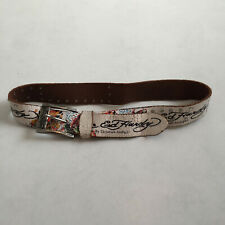 "Vintage Ed Hardy Tattoo Boho Worn Leather Belt - Fits Size 30"", 32"" or 34"" Waist"