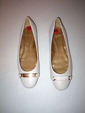 New Womens Authentic Coach Flats Leather 8.5 Shoes Off White Cream Gold Logo