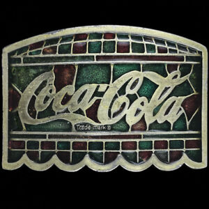Coca Cola Coke Stained Glass Collectible Gift 1970s NOS Vintage Belt Buckle