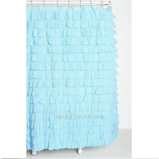 Shabby Bathroom Chic Hampton Ruffled Ocean Blue Ruffle Bath Shower Curtain New