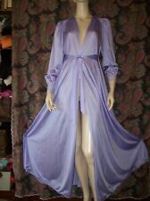 Vintage Olga Silky Nylon Lace Purple Sweep Robe Lingerie M