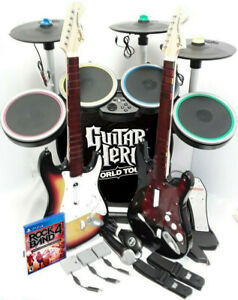 PS4 PS5 Rock Band 4 *Drums*3X Pro-Cymbals*Sunburst & RED Guitars*Dongles*Game