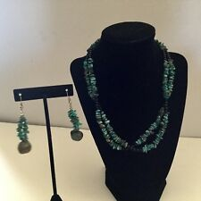 Chunky Nugget Double Strand Turquoise & Onyx Necklace With Matching Earrings