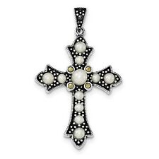 CROSS FRESHWATER CULTURED PEARL AND MARCASITE PENDANT SOLID .925 STERLING SILVER