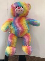 """16"""" Build A Bear Rainbow Bear EUC Tag Removed"""