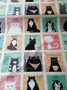 Cotton Fabric Fat Quarter quilting Snarky Cats in squares