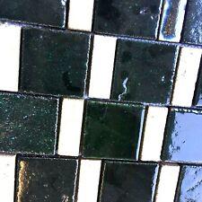 Antique Hand Glazed Bourges Green Ceramic Mosaic Tile Backsplash Wall Countertop
