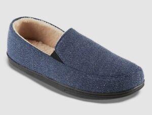 $28 Isotoner Men Blue Slip-On Moccasins Memory Foam House Slippers Shoe 9.5-10.5