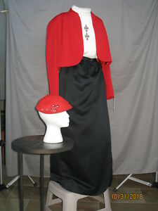 Victorian Dress Edwardian Civil War Style Walking Suit with Hat Red & Black