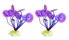 2  STÜCK Aquariumdeko Aquariumpflanze künstliche Pflanze lila Blumen Dekopflanz