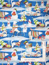 Christmas Polar Bear Snowman Snowy Friends Cotton Fabric Wilmington By The Yard