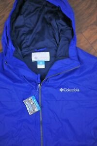 NWT Columbia Oroville Creek Lined Rain Jacket Blue Men's Large L