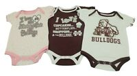NCAA Mississippi State Bulldogs Infant Girls 3 Piece Creeper Bodysuit New