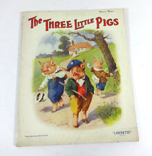 THE THREE LITTLE PIGS; Antique 1920s ILLUSTRATED Linnenette Softcover RARE