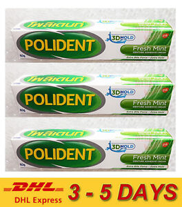 3 x 60g Polident Denture Adhesive Cream Glue Complete More Secure Fit ** Express