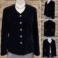 Vintage House of Fraser Velvet Jacket UK 12 Black Goth Steampunk Vamp Grunge 90s