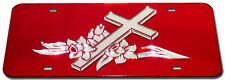 LILLY CROSS RELIGIOUS JESUS MIRROR LASER LICENSE PLATE INLAID ACRYLIC  CHROME