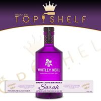 Personalised Whitley Neill Rhubarb and Ginger Gin label any name any occasion