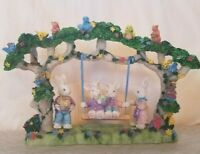 Easter Tree Swinging Bunnies Rabbits Decoration Resin Eggs Birds FLAWED