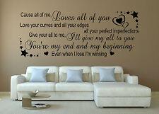 JOHN LEGEND WALL QUOTE ... song lyrics All Of ME ...VINYL WALL ART STICKER/DECAL