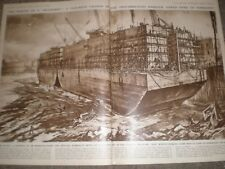 WWII A Caisson part of the Mulberry Port by Muirhead Bone 1945 print ref AP