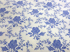 Toile Cotton Fabric Cream With Blue Vintage Roses 100% Cotton 1/2 Metre