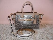 NWT $650 COACH PLATINUM PEARLIZED SNAKE LEATHER SWAGGER 27 SATCHEL #24113