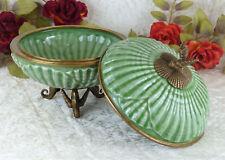 Dose Porzellan Bronze Bonboniere Schmuckdose Craquele Schatulle Deckeldose Antik