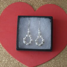 Beautiful Earrings With Freshwater Pearls & Diamantino 4 Cm.Long + Silver Hooks