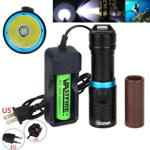 Underwater 100m Diving 10000LM XM-T6 LED Scuba Flashlight Torch Lamp26650/18650