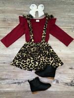 Toddler, Girls Burgundy Cheetah Tie Suspender Skirt Set Outfit 2T 3T 4T 5 6 7 8