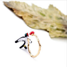 Animal Bird & Cherry Silver Plated Ring Wedding Engagement Adjustable Chic Gift