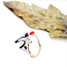Animal Bird & Cherry Silver Plated Ring Wedding Engagement Size Adjustable 97K